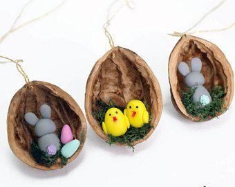 Christmas Ornaments Mushroom walnut shell Tree Decorations Package Tie Ons velwoo   - Osterkleinigkeiten -