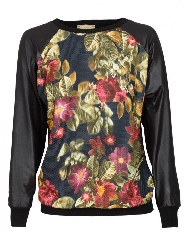 I WANT DIS!! ---> Floral Print Wet Look Sweatshirt in Black