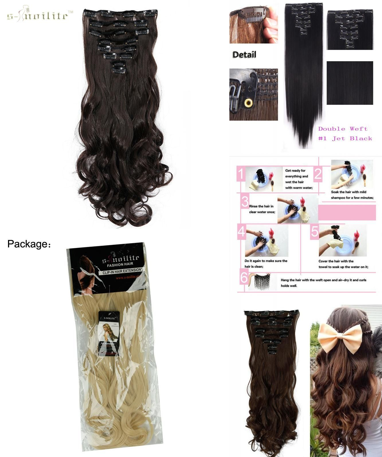 Visit To Buy Snoilite 8pcsset Double Weft Curly 18 Clips In Hair