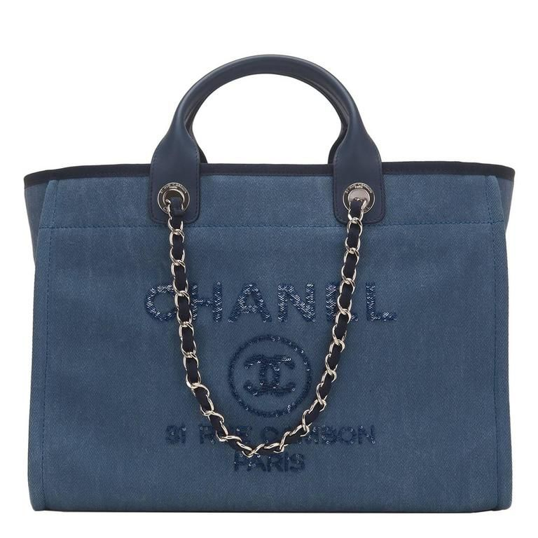d408136dd570 Chanel Large Navy Canvas With Sequins Deauville Tote