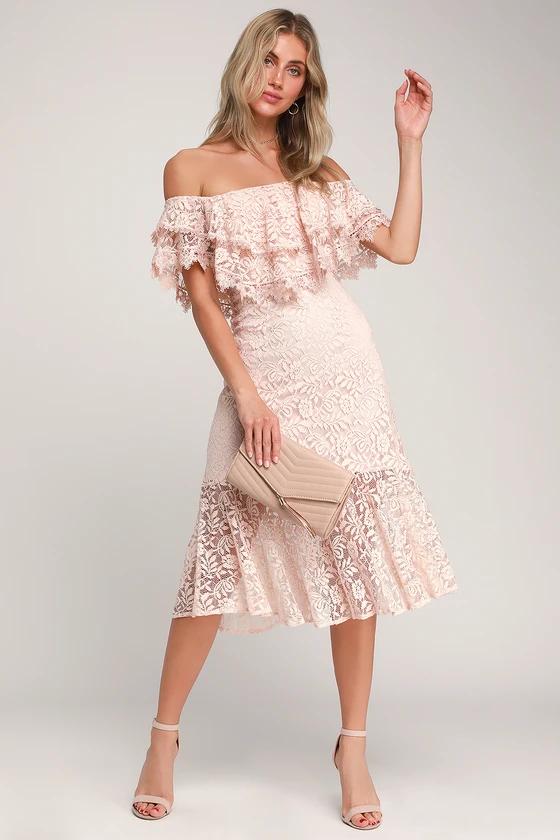 Lulus Jaclyn Blush Pink Lace Off The Shoulder Midi Dress
