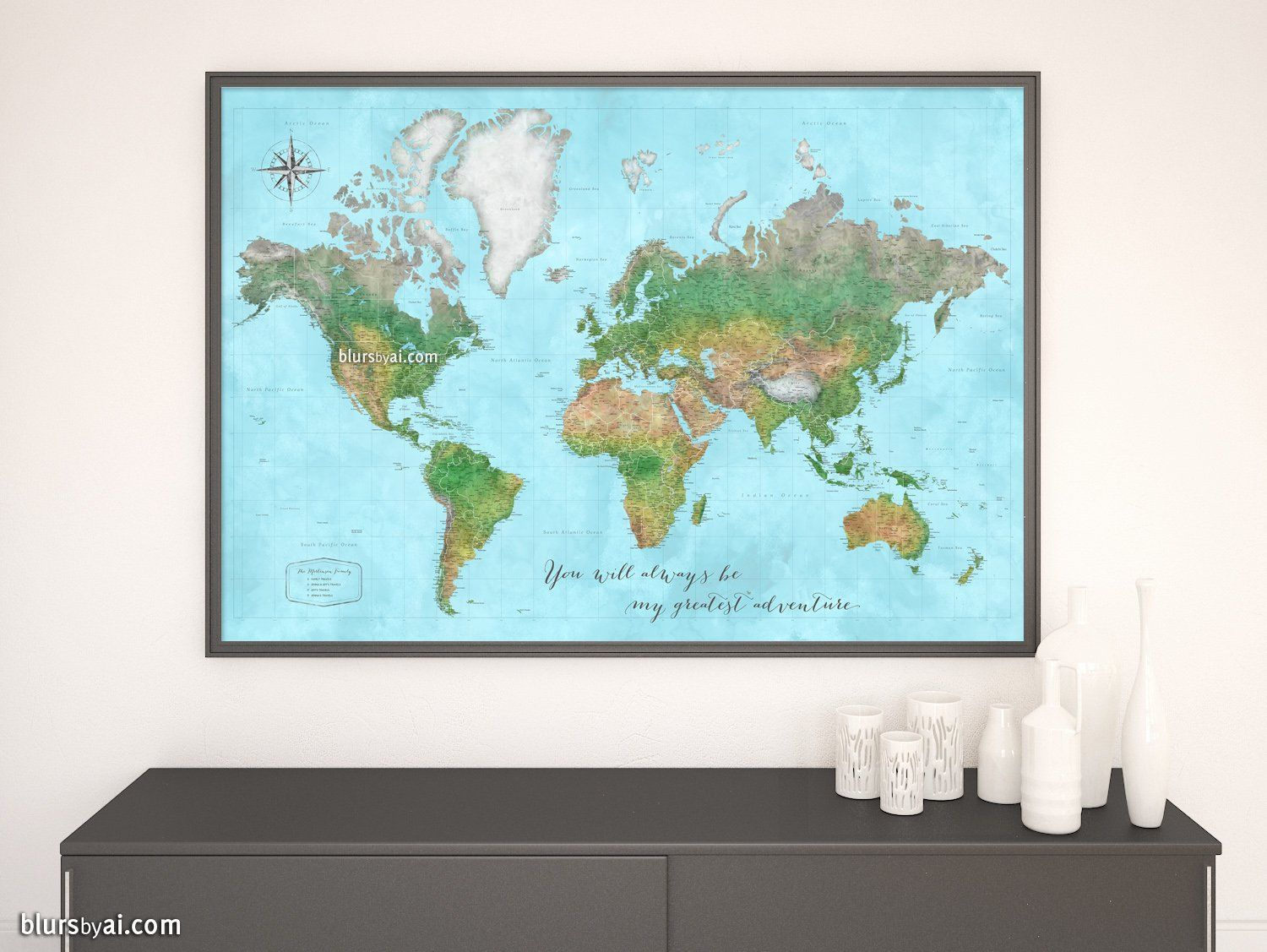 Custom world map print - highly detailed map with cities in ... on