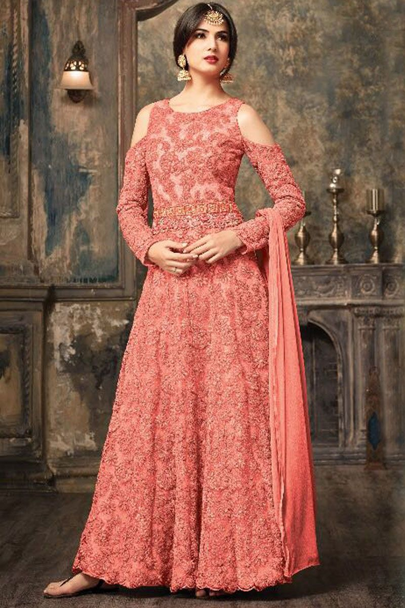 e28da4b11 Sonal Chauhan Peach Color Net Fabric Heavy Floral Embroidered Party Wear  Indian Fashion Beautiful Bridal Occasionally Fashion Wedding Wear Floor  Length ...