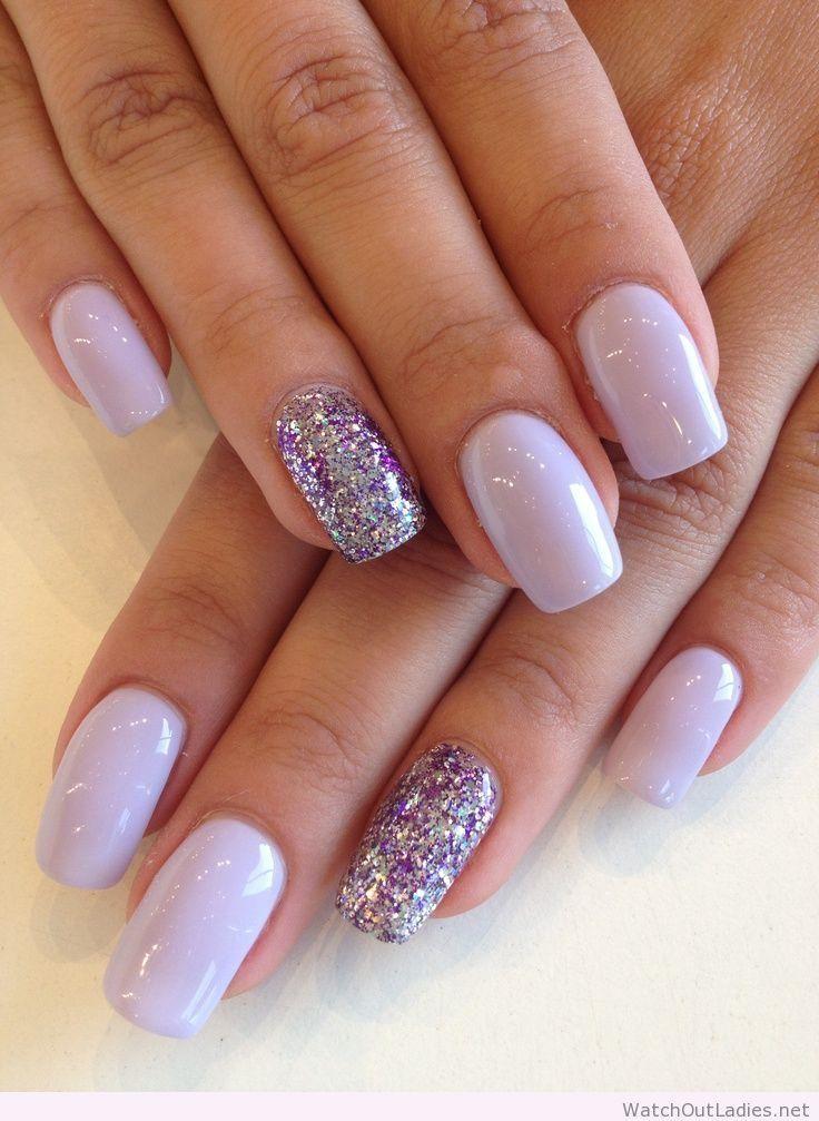 Silver,and,Purple,Glitter,Nails