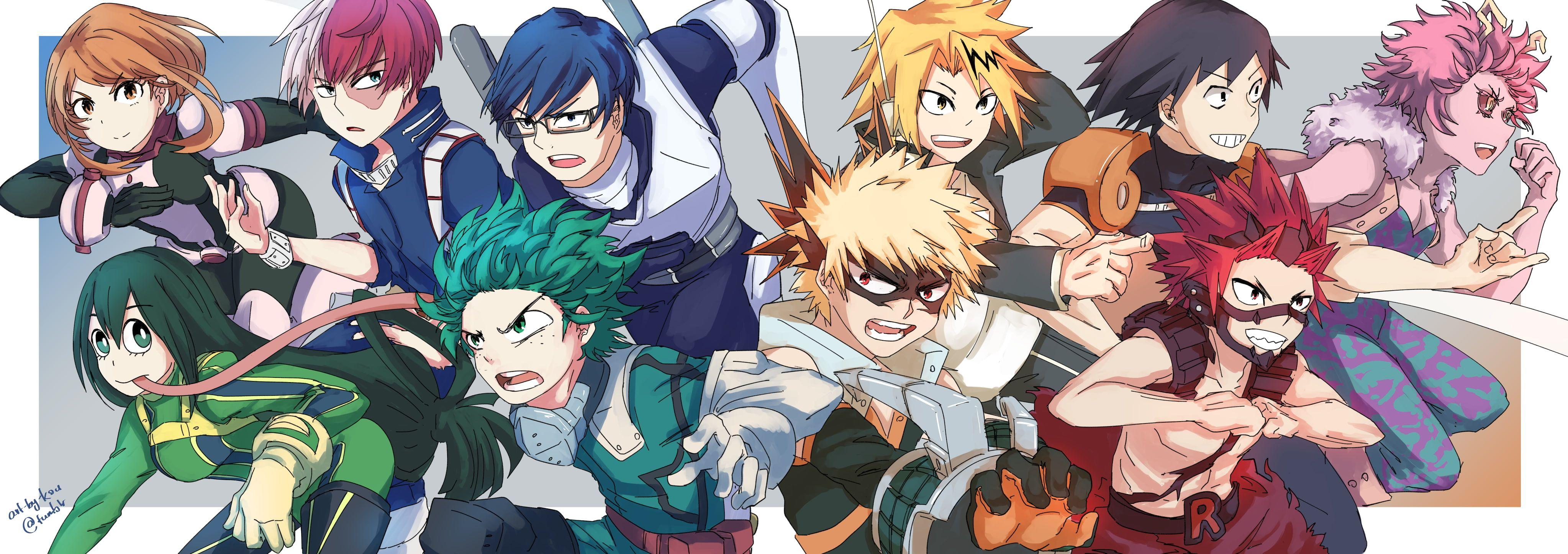 Anime My Hero Academia Denki Kaminari Eijiro Kirishima Hanta Sero Izuku Midoriya Katsuki Bakugou Mina Ashido Ochaco Uraraka Shoto T Anime Anime Images Disgaea