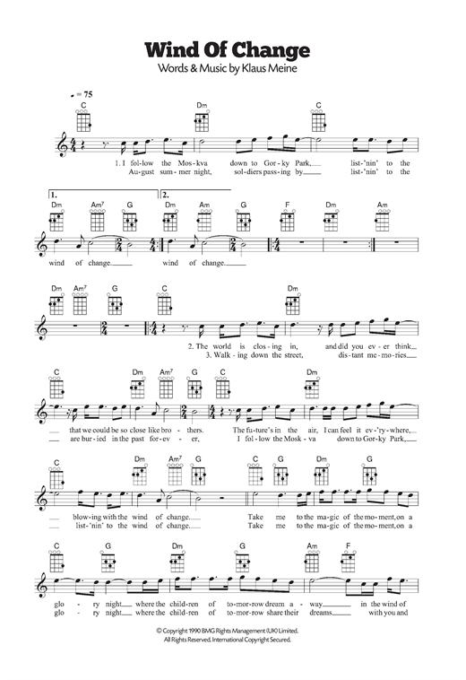 Wind Of Change Sheet Music Scorpions Ukulele Wind Of Change Sheet Music Sheet Music Direct