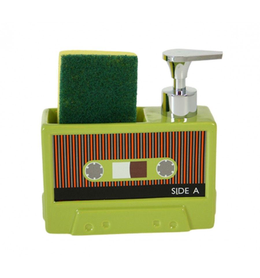 Dosificador jabón cocina Cassette retro verde   KAMIR - Decoración y ...