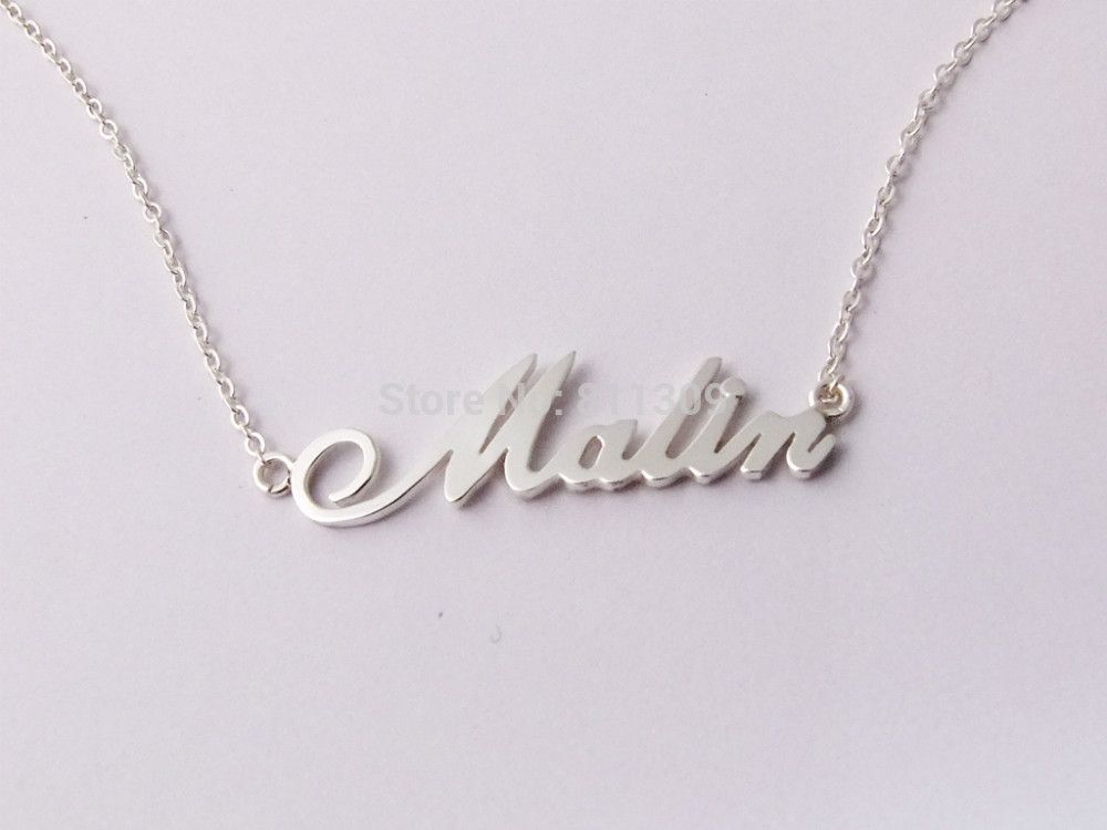 034448dd06ad Encontrar Más Collares Información acerca de Nombre personalizado collar  personalizado 925 joyería de plata
