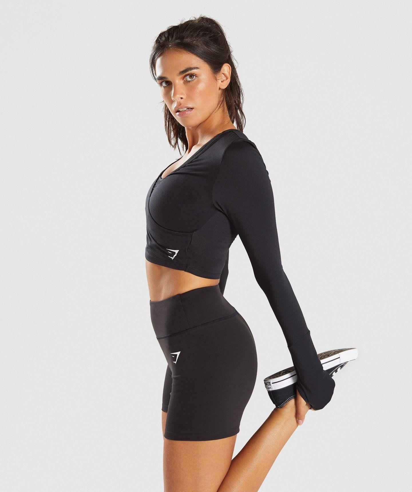 012f8f4bca23c Gymshark Long Sleeve Ballet Crop Top - Black in 2019