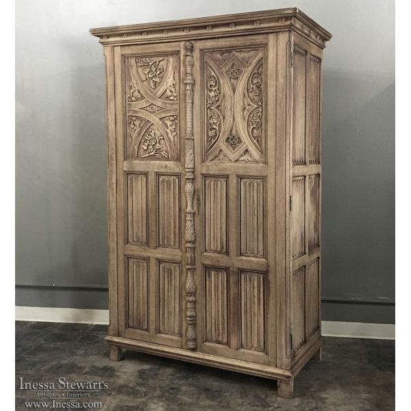Antique Gothic Solid Washed Oak Armoire - Antique Gothic Solid Washed Oak Armoire Discover More Ideas