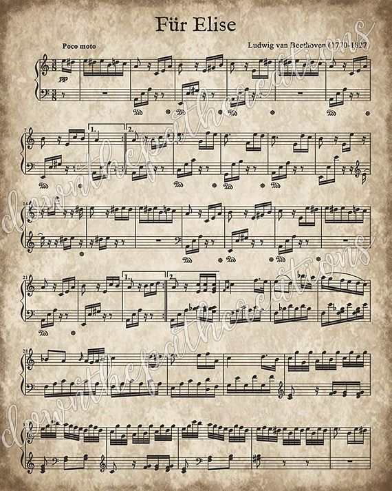 Fur Elise, Printable Vintage Sheet Music, Instant Download, Beethoven Art Print, Classical Piano Music, Christmas Song Decor, Classical