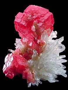 Rhodochrosite and Quartz  Huallapon Mine, Peru