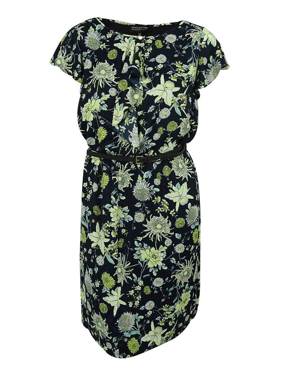 Jones New York Women's Floral Print Ruffled Dress