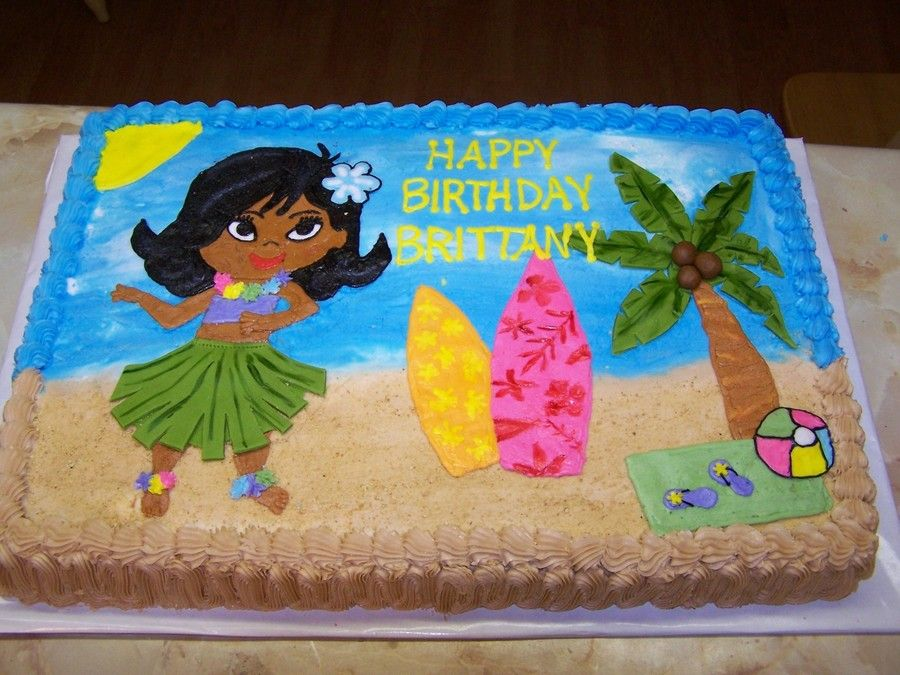 Hula Girl Luau All Buttercream Except The Tree Leaves And The Hula
