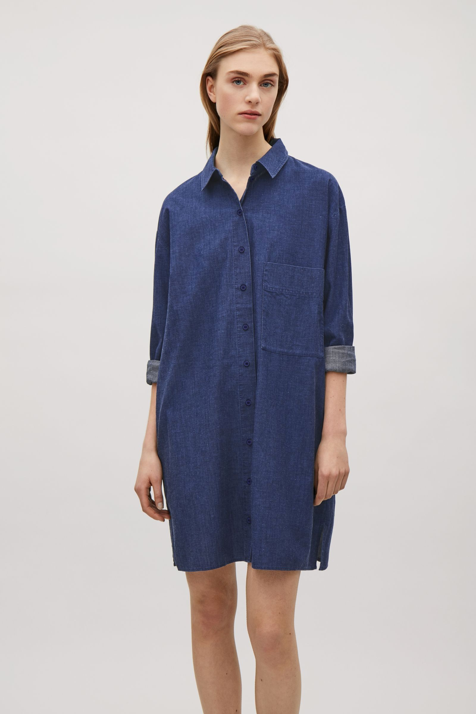 fef90615c046 COS image 2 of Cotton-denim shirt dress in Blue | Look in 2019 ...
