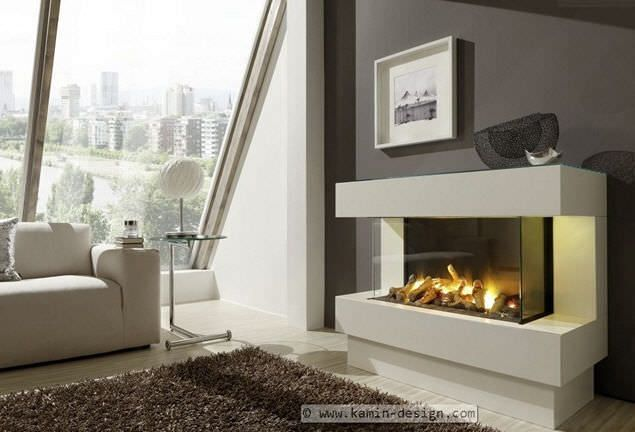 Electric fireplace / contemporary / closed hearth / built-in ...