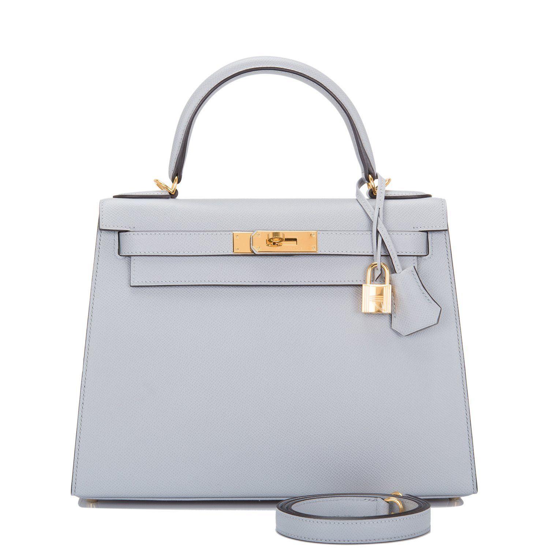 hermès Kelly 28 sellier in  bleu glacier  epsom with palladium gold  hardware. 8eb423884e8f4