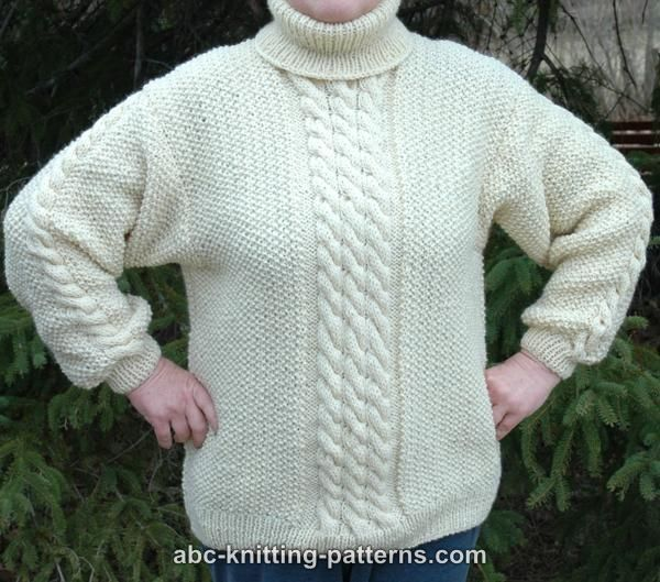 ABC Knitting Patterns - Aran Sweater with Turtleneck Collar | sewing ...
