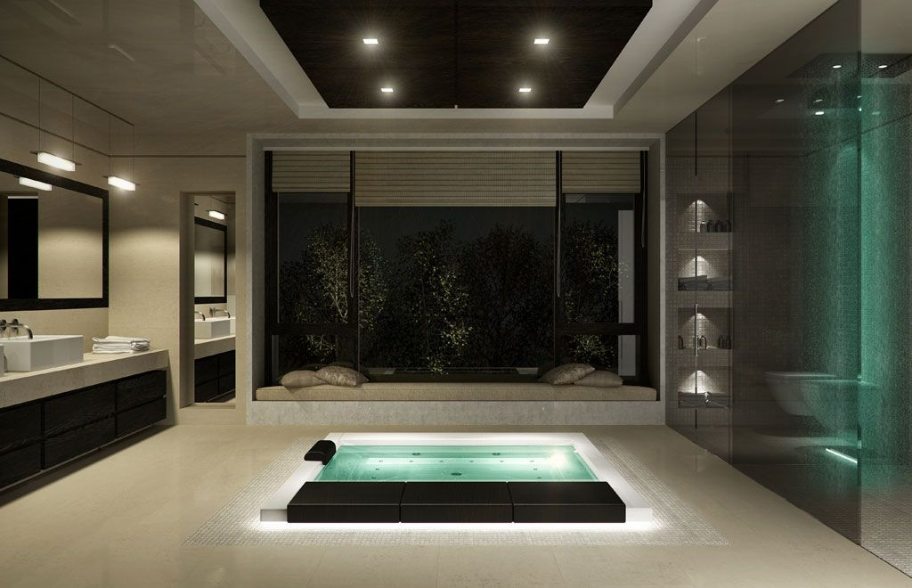 Rendering bagno con jacuzzi Home Pinterest Jacuzzi, Futuristic - jacuzzi interior