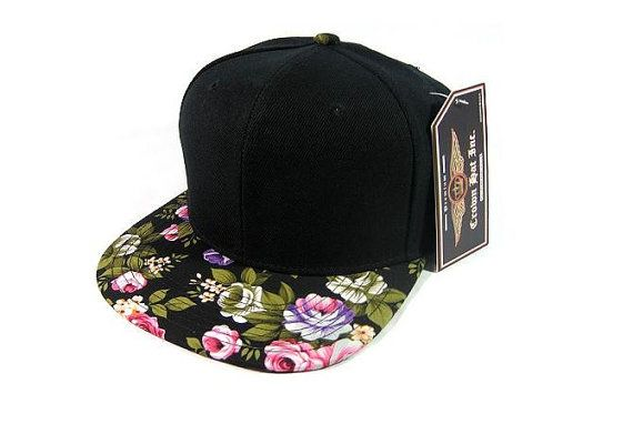 Rose Floral Bill Hat Comes with Custom Embroidery or You can Buy Blank  Description  Black Flat Bill Floral Snapback Hat. 100% Poly. 6 Panel. 28bb68a5b825