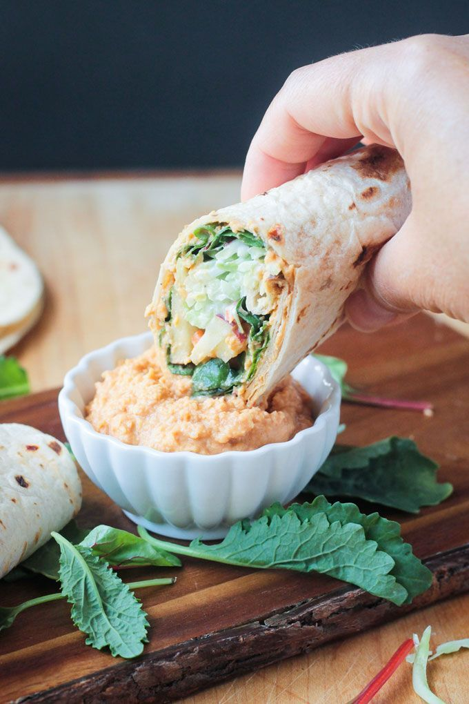 Broccoli Slaw Veggie Wrap With Spicy Hummus