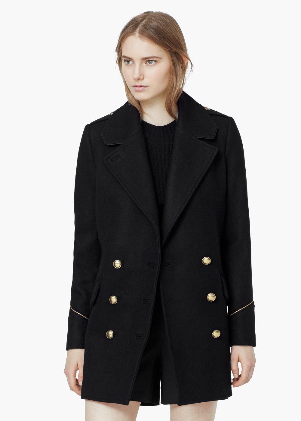 e4c448a4d316 Παλτό μάλλινο διπλή σειρά κουμπιών - Γυναίκα
