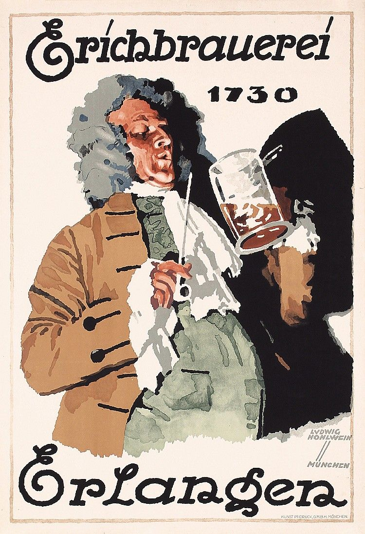 Original 1920s LUDWIG HOHLWEIN Beer Poster Plakat