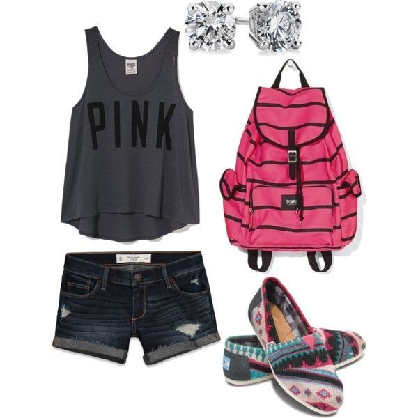 Love the outfit needs longer shorts a different backpack no earrings but keep the toms they're so cute..