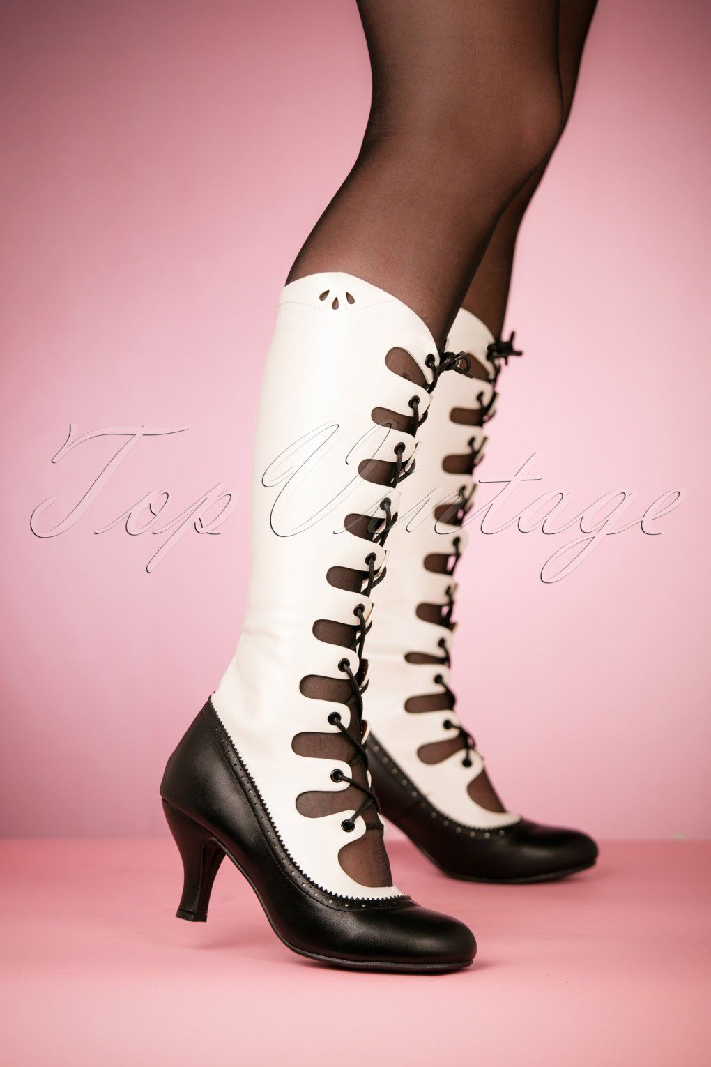 ed6891fe904 1910 - 20s Free Bird Boots in Black and White £73.29 AT vintagedancer