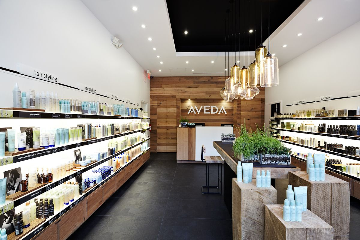 Retail Modern Lighting Spotted In Aveda Beauty Store Niche Modern Salon Interior Design Pharmacy Design