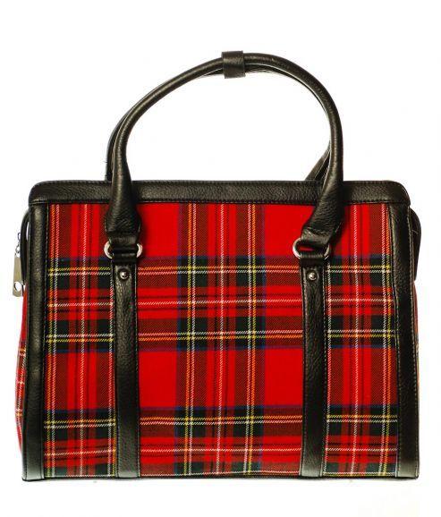 Ladies Wool Tartan Handbag, Satchel Style, Stewart Royal