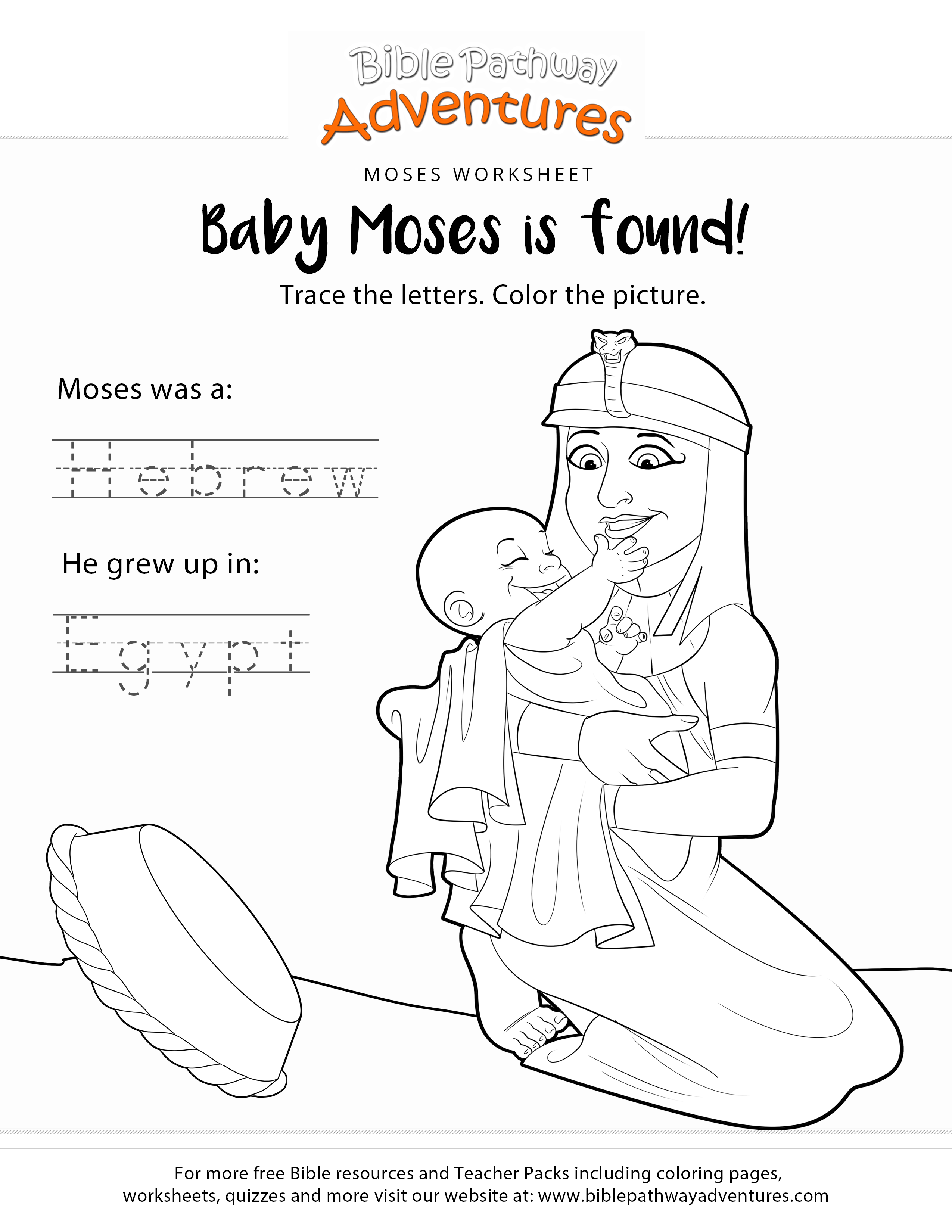 Baby Moses Bible Copywork And Coloring Page