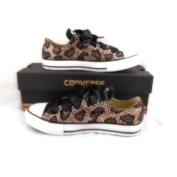 Leopard Print Bling Converse Shoes. Custom Bling Shoes. Rhinestone Shoes.  Custom… 22f4b74e6