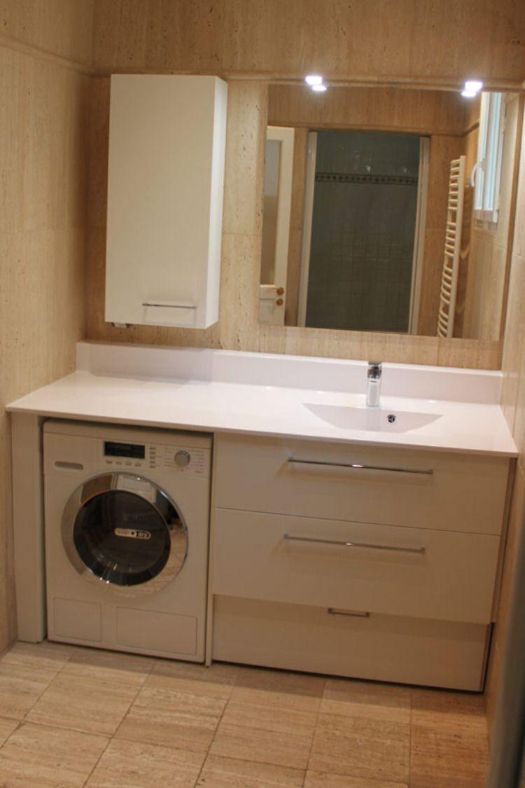 Machine A Laver Installe Sous Le Plan De Toilette Meuble Installe Entre M Petit Meuble Pour Salle De Bains Plans Petite Salle De Bain Lave Linge Salle De Bain