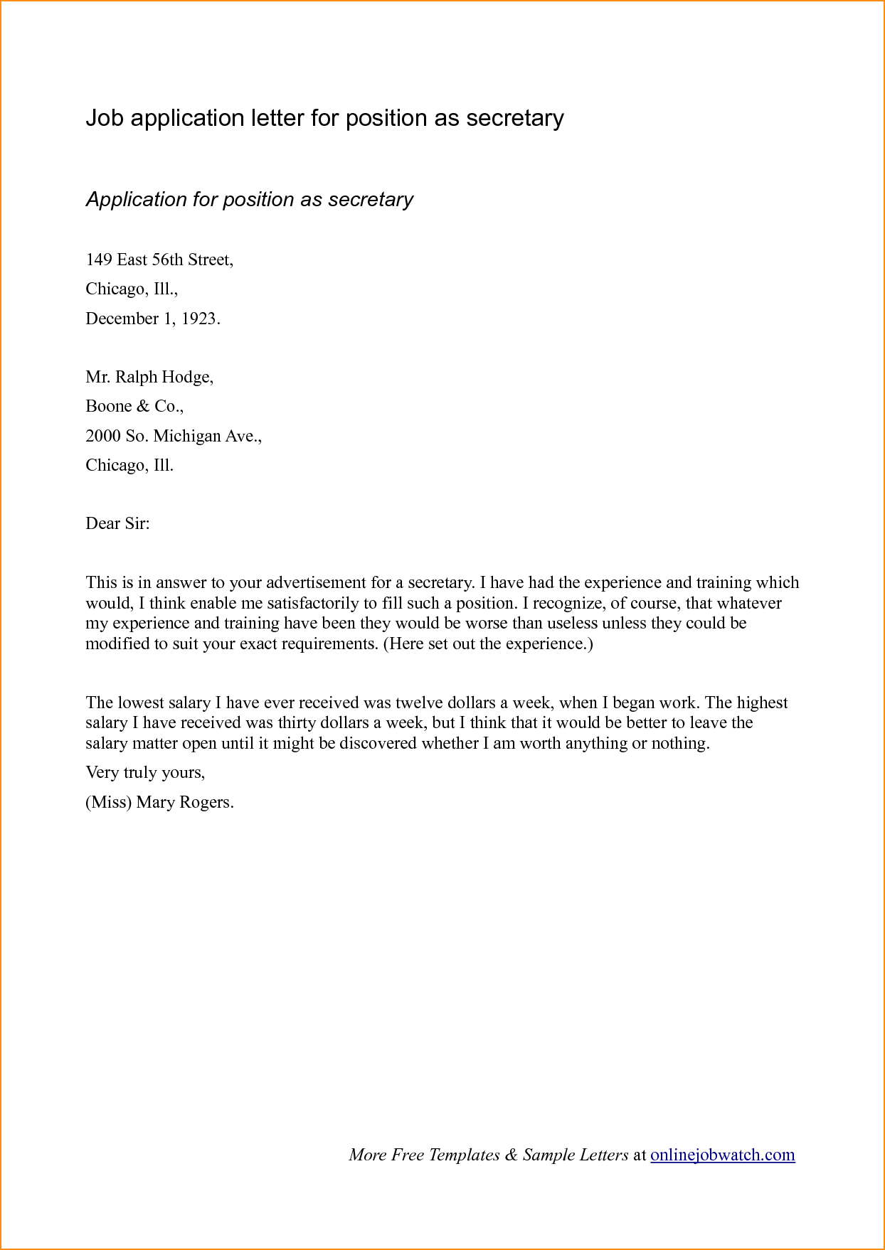 Letter Sample Eastern Illinois University Cover Example Job Application  Letters Templates  Cover Resume Letter Examples