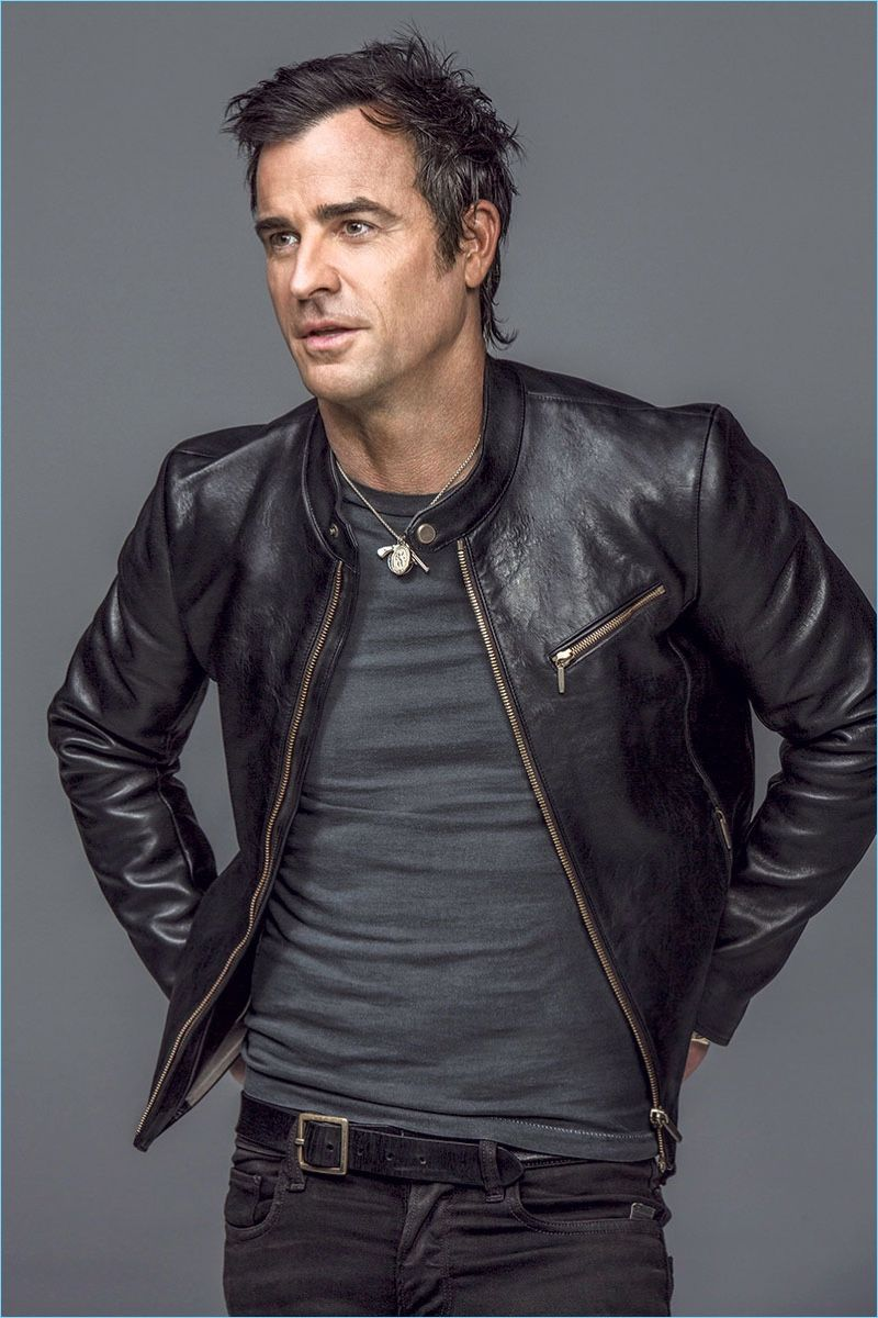 Actor Justin Theroux Rocks An Ajmone Leather Jacket With A Vintage T Shirt And Belt He Also Sport Leather Jacket Style Leather Jacket Brown Leather Jacket Men [ 1200 x 800 Pixel ]
