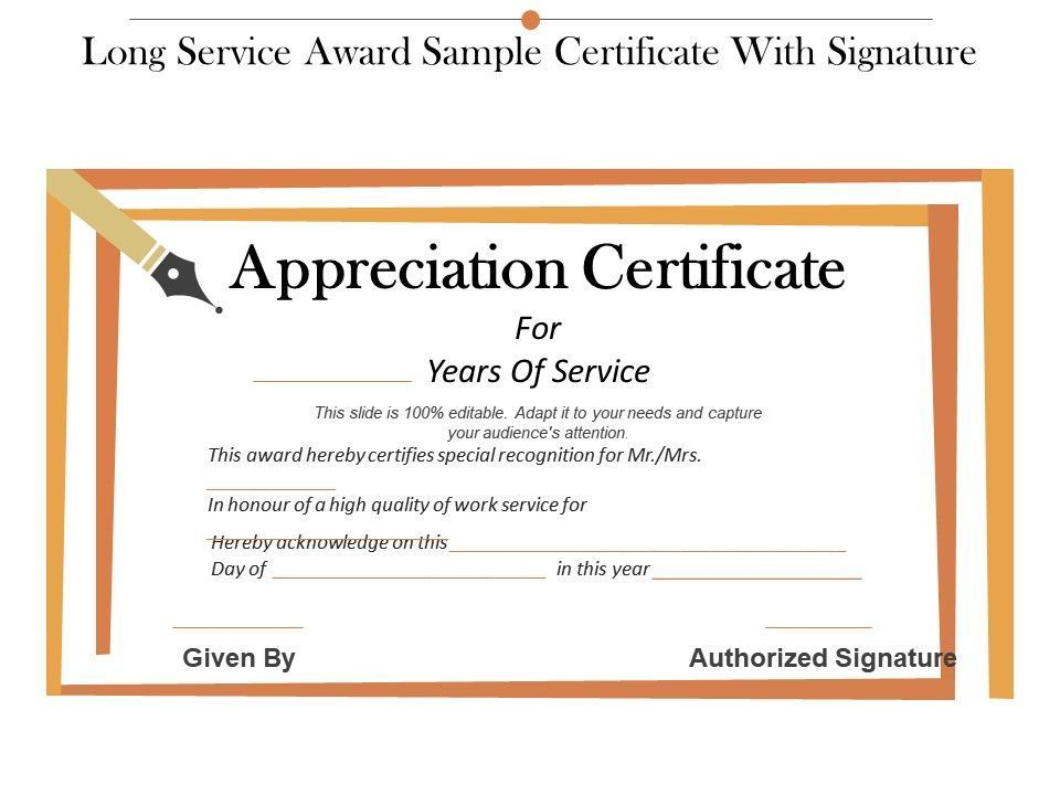 Long Service Certificate Template Sample In 2020 inside