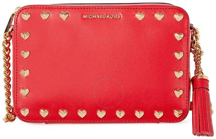 c9a1e96d2436 Michael Kors Medium Ginny Heart Studded Camera Bag - Red