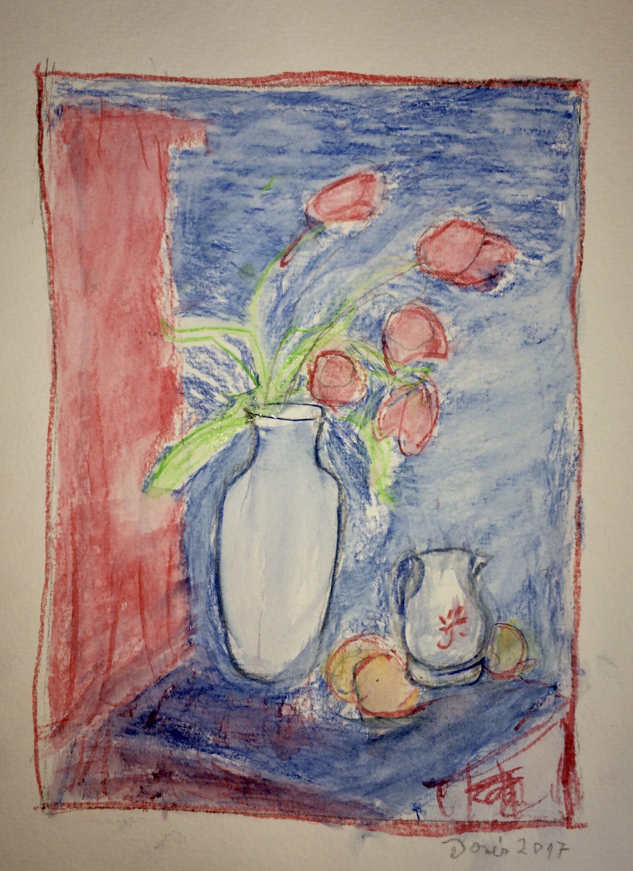 Doris Stillleben Mit Vase Aquarellstifte Aquarell Stifte Kunst