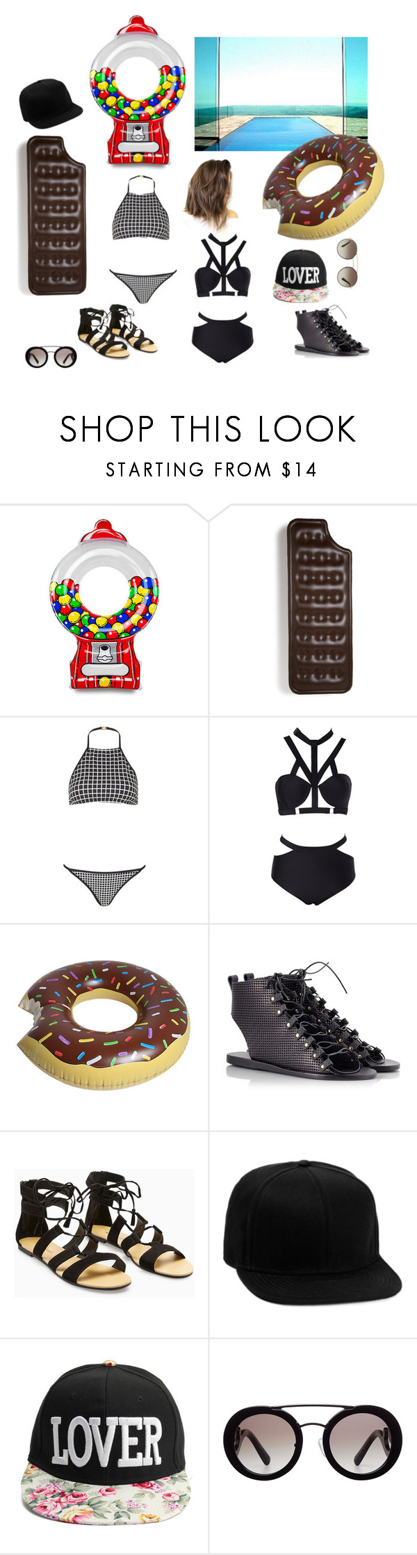 """#Pool"" by yendry-mariela-garcia-perez ❤ liked on Polyvore featuring interior, interiors, interior design, home, home decor, interior decorating, Big Mouth, Topshop, Ancient Greek Sandals and Topman"