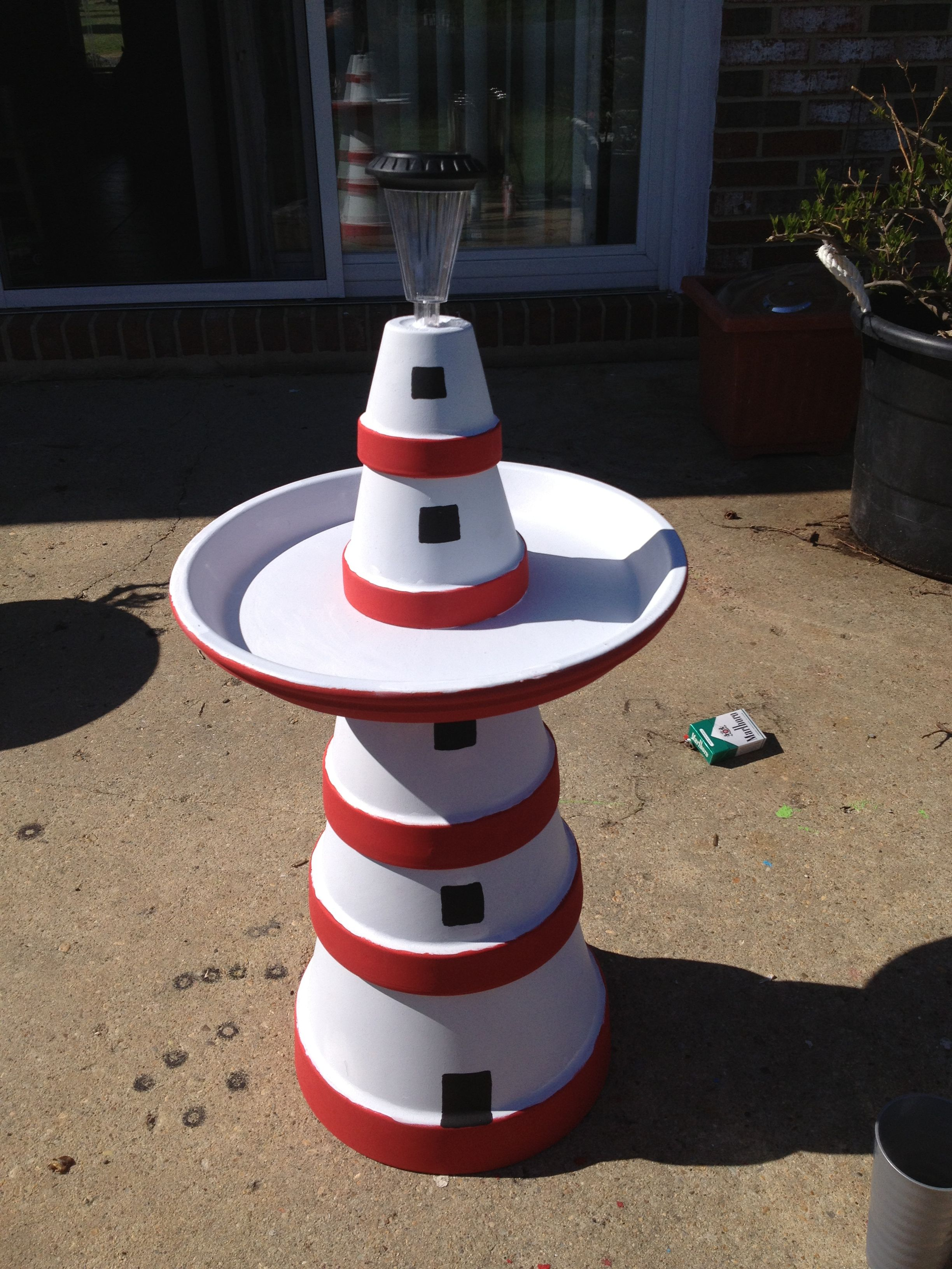 Diy make a clay pot lighthouse diy craft projects - How To Make A Clay Pot Bird Bath For Home Decoration Clay Pot Bird Bath Bird Bath Clay Pot Clay Pot Bath How To Make A Bath