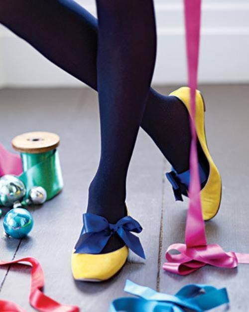 yellow flats with navy blue bow !