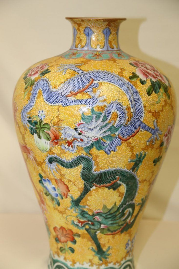 A Very Large Famille Rose Meiping Dragon Vase Dragons In Design Vase Chinese Ceramics