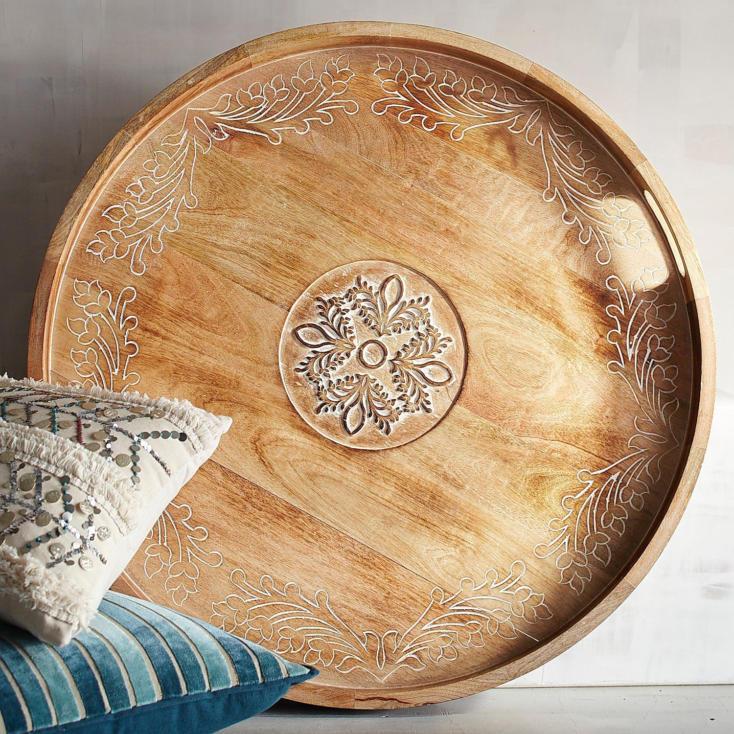 Fabulous Large Courtland Brown Hand Carved Round Tray In 2019 Stuff Machost Co Dining Chair Design Ideas Machostcouk