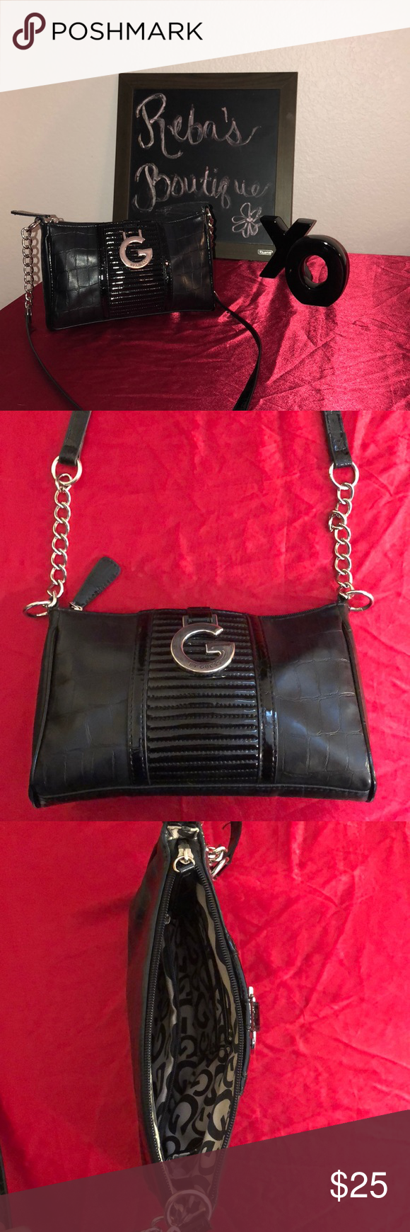 Guess Purse • Perfect crossbody Purse. Almost new! Black with silver  accents. Guess Bags Mini Bags 06a30dde60005