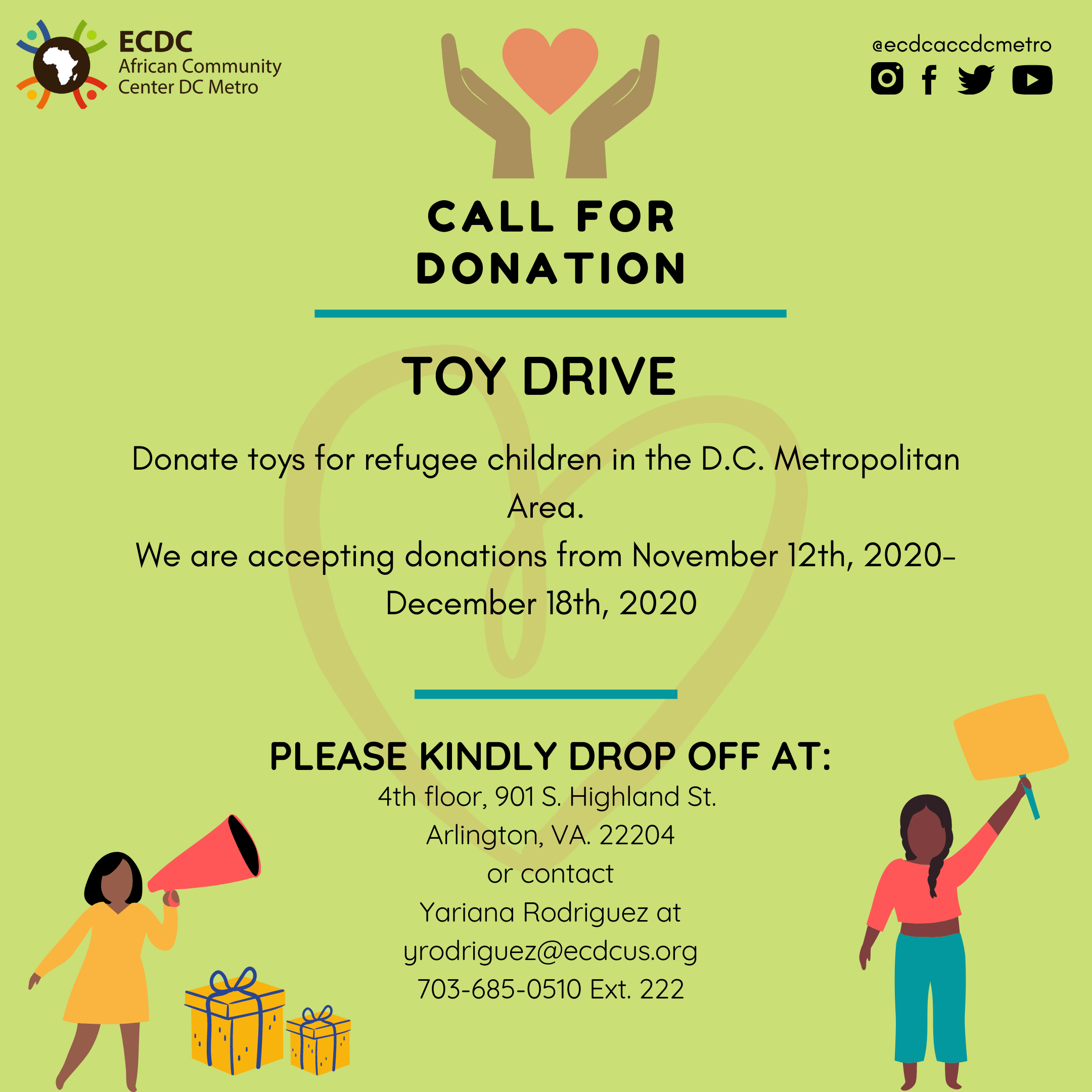 TOY DRIVE It's that time again! ACC DC is collecting toys for its annual Toy Drive. Contact ACC DC to schedule a donation drop off. #nonprofit#nonprofitorganization#arlington#virginia#washingtondc#refugees#immigrants#withrefugees#refugeeswelcome#toydrive#christmas#gift#giving