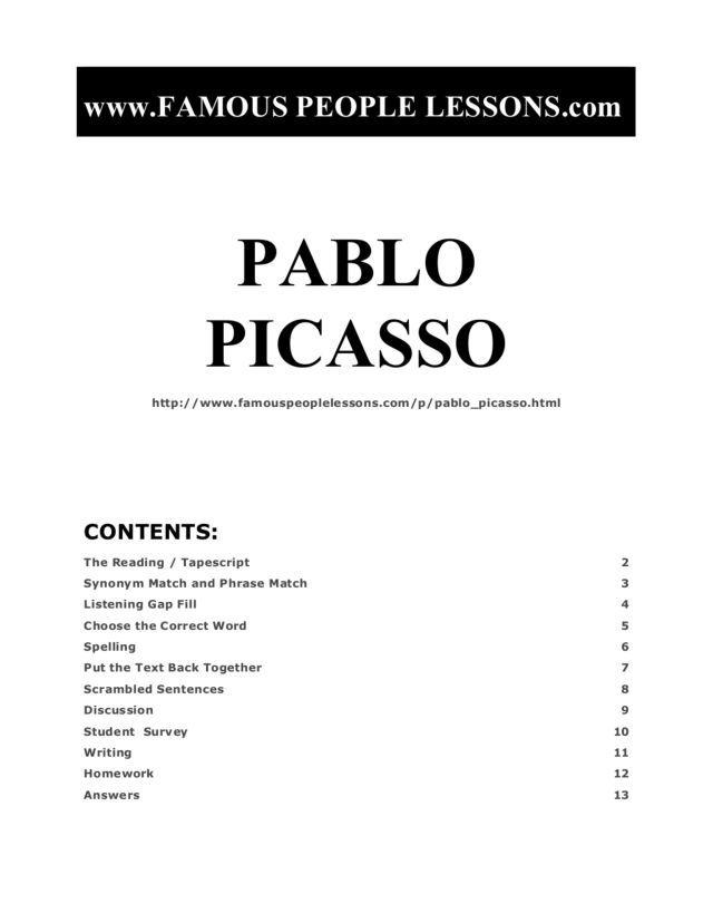 Pablo Picasso Worksheet | Lesson Planet | Cubism | Pinterest