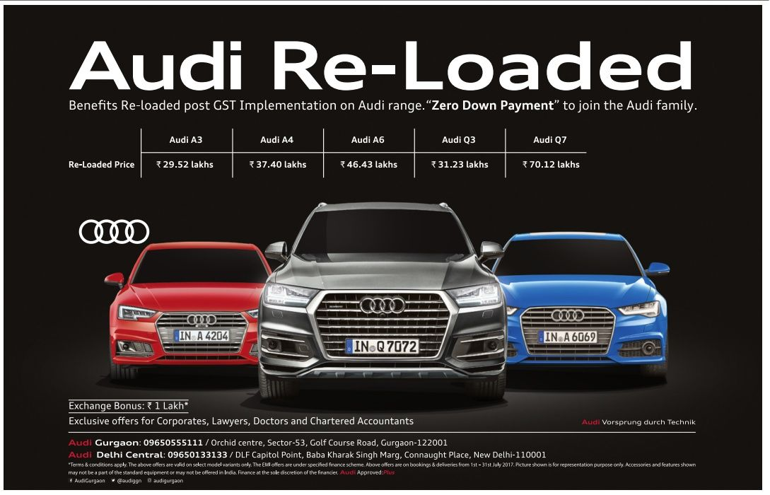 Audi Cars Reloaded Benefits of GST Zero Down Payment Ad