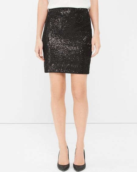 """Shine on: row upon row of sequins give our sleek pencil skirt a sparkling shine. Our designers went to great lengths to perfectly place each one, layering them on for a pretty iridescent look. We think it's especially perfect for holiday parties.  Black sequin pencil skirt  Back zip with hook-and-eye closure Lined with smooth stretch knit Sits 1"""" below natural waist and hits 3-4"""" above the knee Approx. 17 1/2"""" center back length 100% Nylon. Hand-wash cold. Imported"""
