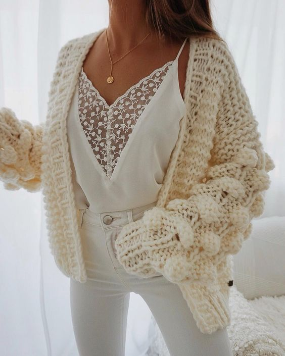 sweet embroidered lace cami white lace cami night out lace cami under shirt lace cami with cardigan chunky knit cardigan loose knit pom pom cardigan sweaters #sweater #cardigan #cami #lacecami #tank #undershirt